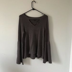 Purple/Gray Long Sleeve Knit Top with Bell Sleeves